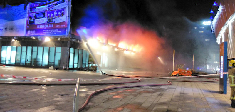 Liverpool's Echo Arena - car park on fire.<br>